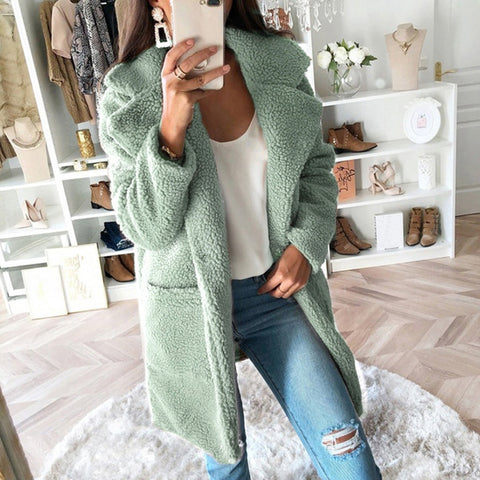 KANCOOLD  fake fur thick warm curly teddy coat new collection winter female clothes oversize with underneath windbreak green