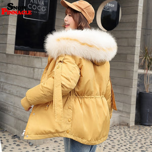 2019 Winter Parkas jacket for Women Thicken Warm hooded Jacket Coat Casual big fur collar outwear Collect waist Parka coat M-2XL