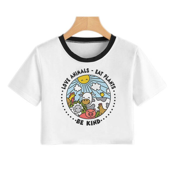 Vegan Funny Cartoon T Shirt Women Vintage 90s Korean Style T-shirt Cute Small Fresh Tshirt Girl Harajuku Ullzang Vogue Tank Tops