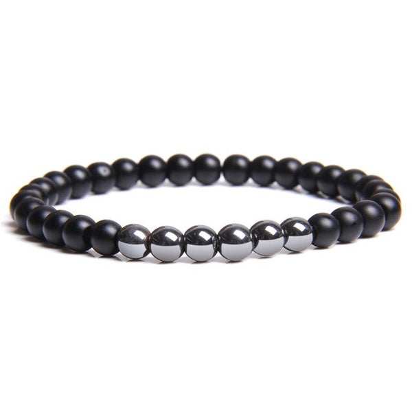 Black Onyx Bracelets Men Natural 8mm Chakra Stone Beads Bracelet For Women Reiki Prayer Health Balance Femme Bracelet Jewelry