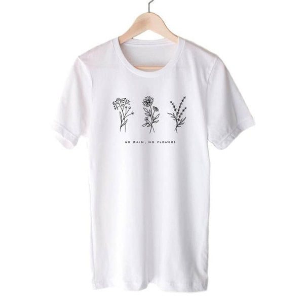 Harajuku No Rain No Flowers T Shirt Women Ladies | FAIStars.com