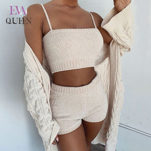 EvaQueen 2019 Sweater Sexy 2 Piece Set Women Fashion Sling Crop Tops And Shorts Suit Autumn Winter Knitted Two Piece Set Outfits