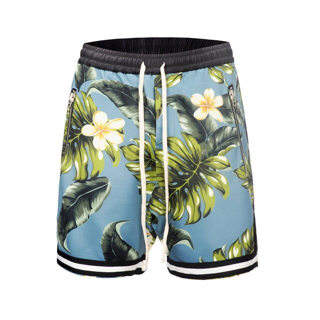 3 color Mesh Shorts  Summer Justin Bieber The 1987 Collection Shorts Flower Leaves Beach Mesh Jogger Short