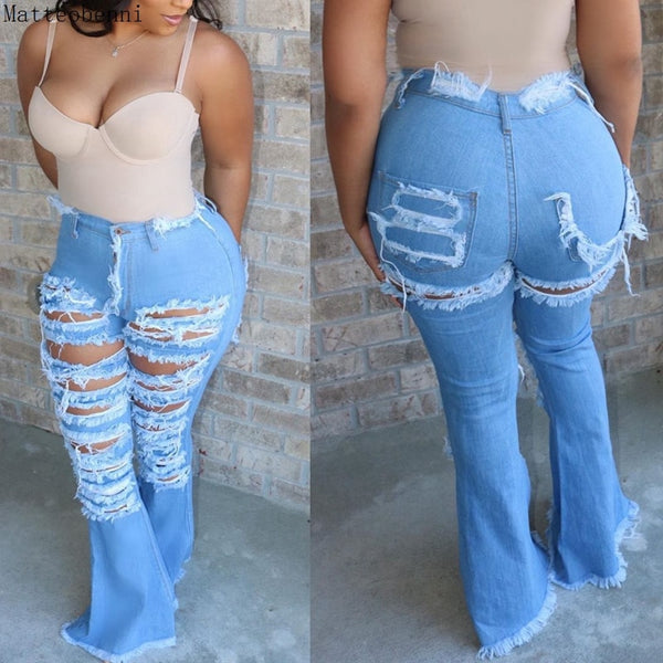 Fashion Denim Flare Pants Women Vintage Ripped Holes High Waist Jeans Wide Leg Trousers Sexy Casual Patchwork Bell-Bottoms Jeans