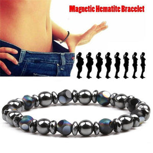 Black 6.5cm Cool Magnetic Bracelet Beads Hematite Stone Therapy Health Care Magnet Hematite Beads Bracelet Men's Jewelry