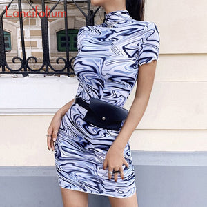 Sexy Turtleneck Bodycon Dress Women Summer Tie Dye Mini Dress Ladies Harajuku Cute Party Dress Y2k Egirl Dress 2020 Vestidos