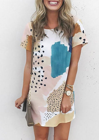 Patchwork Women Mini Dress Short Sleeve O-Neck Print Dresses for Woman 2020 Summer Leopard Y2K Hot Clothes Loose Female Clothing