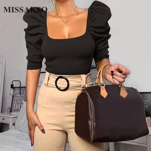 Missakso Sexy Spring Blouse Slim Puff Sleeve Vintage Autumn Square Neck Crop Tops Streetwear Solid Black White Women Blouse