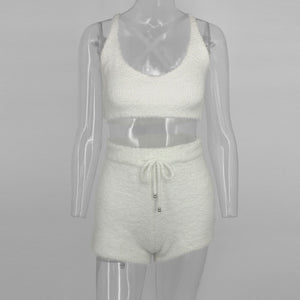 EvaQueen Solid Knitted Autumn Winter 2 Piece Set Women Sweater Crop Tops And Bodycon Shorts Spaghetti Strap Sexy Two Pieces Sets