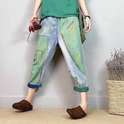 Women Summer Fashion Elastic Waist Colorful Printed Patchwork Calf Length Denim Harem Pant Office Lady Female Casual Loose Jeans