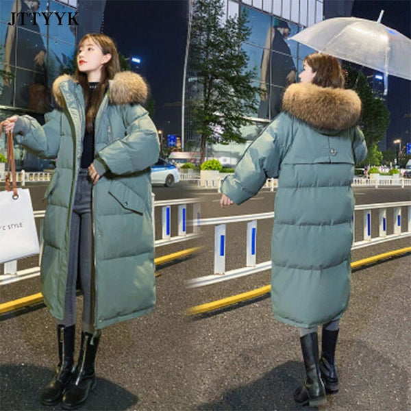 2020 Long Coat Jacket Winter Women's Hooded Warm Parkas fur collar Parka Coat Hight Quality Female New Winter Collection Hot