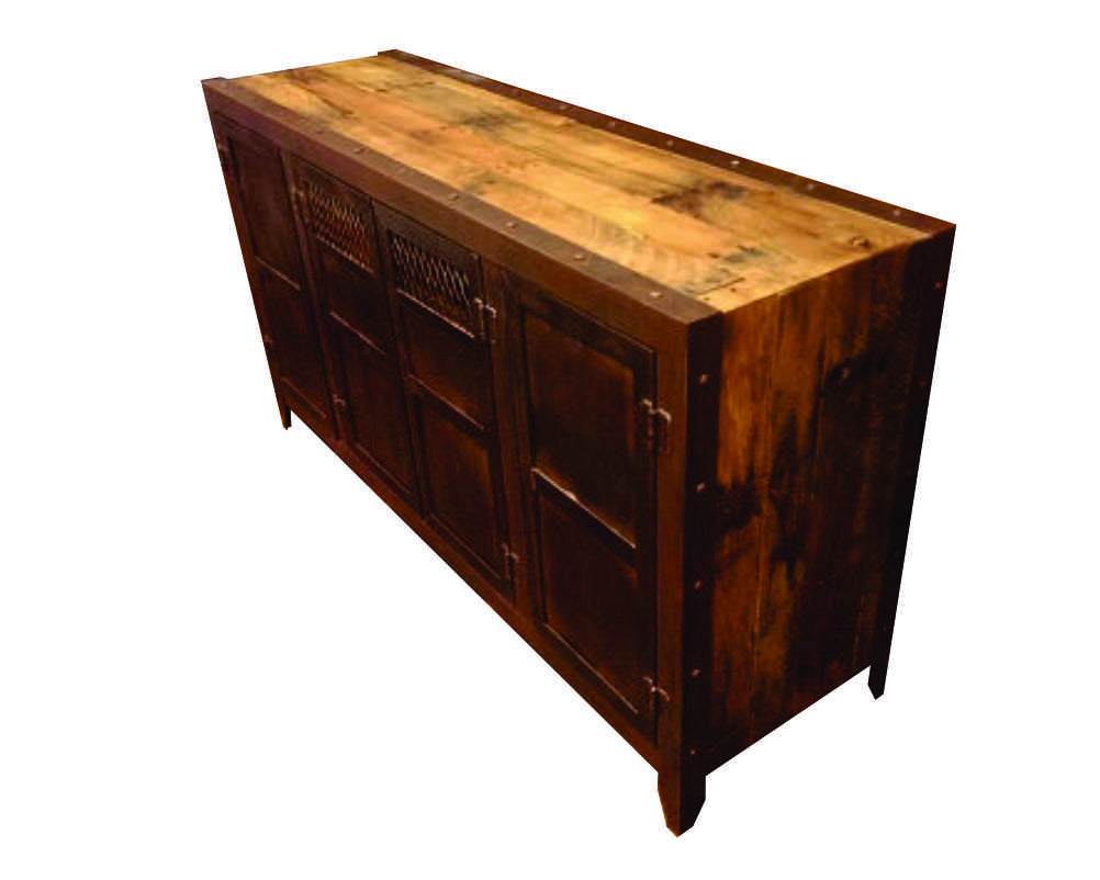 Rustic Media Console - Side View - IndustrialFurnitureCo.com