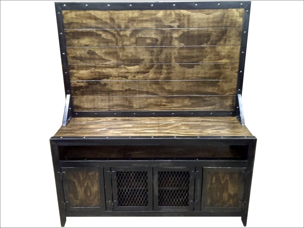 Industrial Media Furniture. Industrial Media Console/cabinet With Flat  Screen Tv Mount   Front