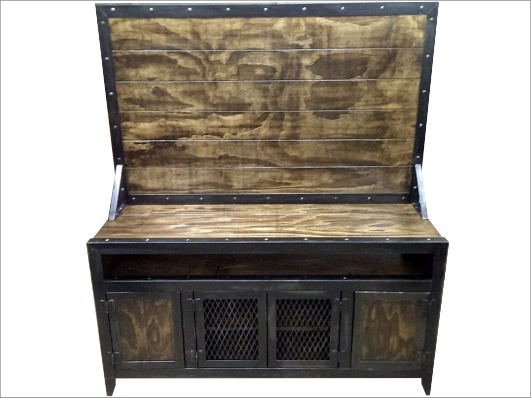 Delicieux Industrial Media Console/Cabinet With Flat Screen TV Mount   Front View ...