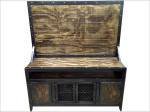 Industrial Media Console/Cabinet with flat screen TV Mount - Front View