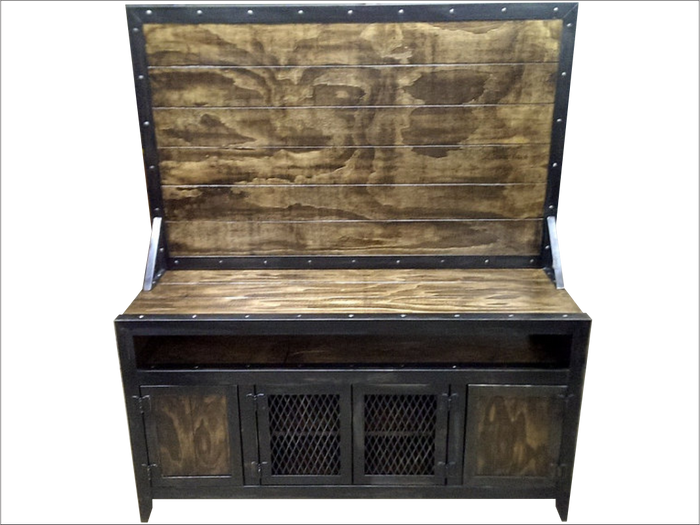 #009 - Industrial Media Console with Flat Screen TV Mount