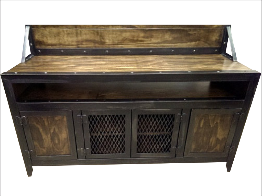 ... Industrial Media Console/Cabinet With Flat Screen TV Mount   Close Up  ...