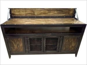 Industrial Media Console/Cabinet with flat screen TV Mount - Close Up