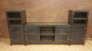 Vintage Industrial Entertainment Center - Front View