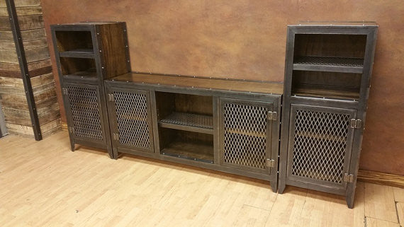 Vintage Industrial Entertainment Center   Side View