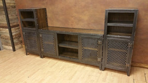 Vintage Industrial Entertainment Center - Side View