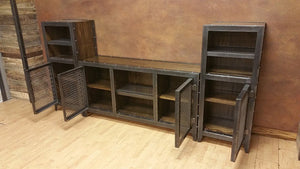 Vintage Industrial Entertainment Center - Side View Open