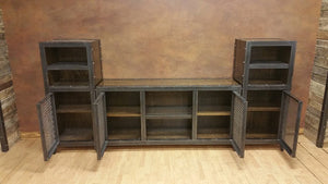 Vintage Industrial Entertainment Center - Front View Open