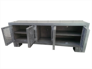 Weathered Industrial Media Console Front Open View
