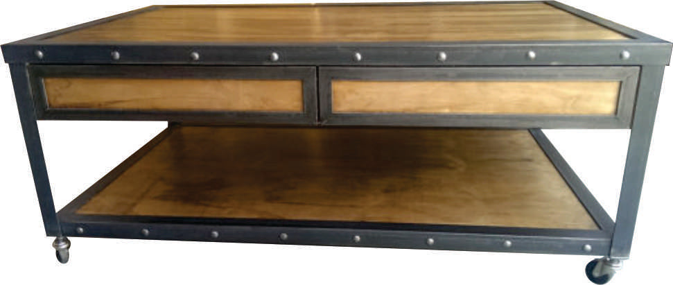 Industrial Coffee Table Front View by www.IndustrialFurnitureCo.com