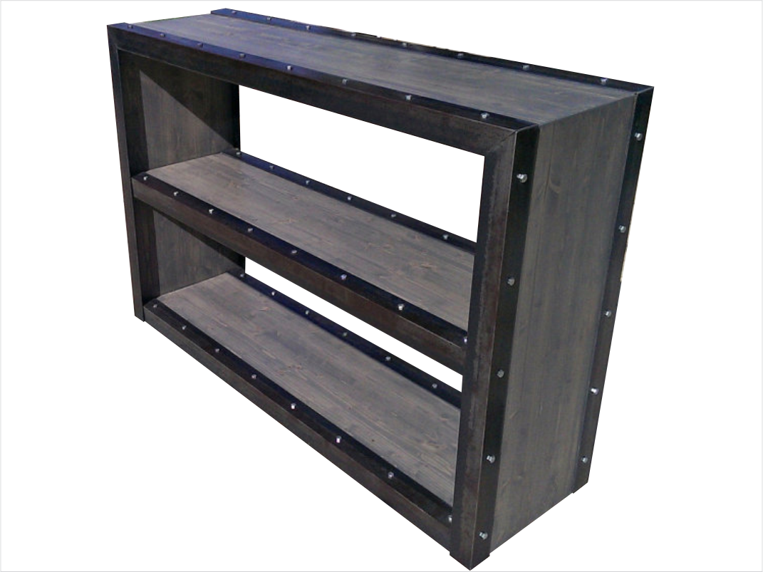 Modern Industrial Bookcase - Side View
