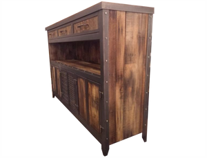 Rustic Industrial Media Console with Reclaimed Wood - Side View