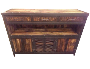 Rustic Industrial Media Console with Reclaimed Wood - Front View