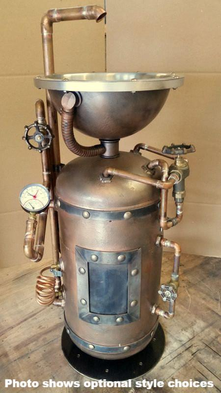 #044 - Steampunk Industrial Pedestal Sink • Industrial Style Décor