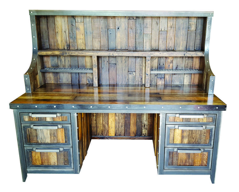 Industrial Reclaimed Wood Desk With Hutch   Front View