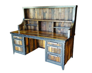 Industrial Reclaimed Wood Desk with Hutch - Side View