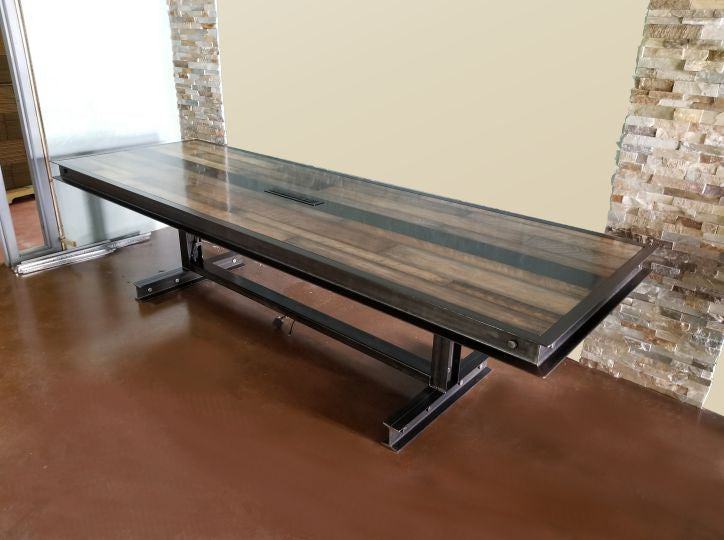 #064 - Industrial steel and reclaimed wood conference table