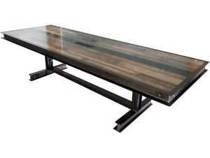 #064 - Industrial steel and reclaimed wood conference table with FREE power/data center