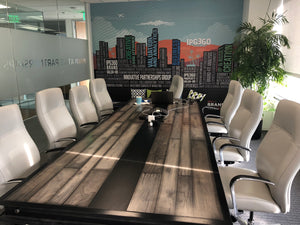 Vintage Industrial Reclaimed Wood Conference Table in Brown Shades