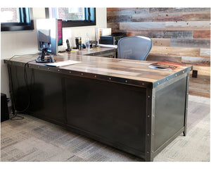 Industrial style office desk with hand painted reclaimed wood top