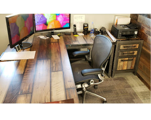 Industrial style office desk with hand painted reclaimed wood top with reclaimed wood file cabinet