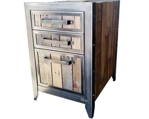 Industrial style office file cabinet with reclaimed wood