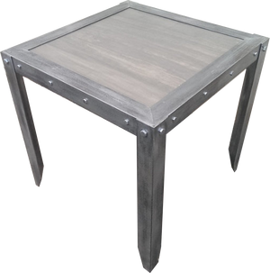 Industrial Vintage Weathered Side Table Angled in Jacobean by Industrial Evolution Furniture Co