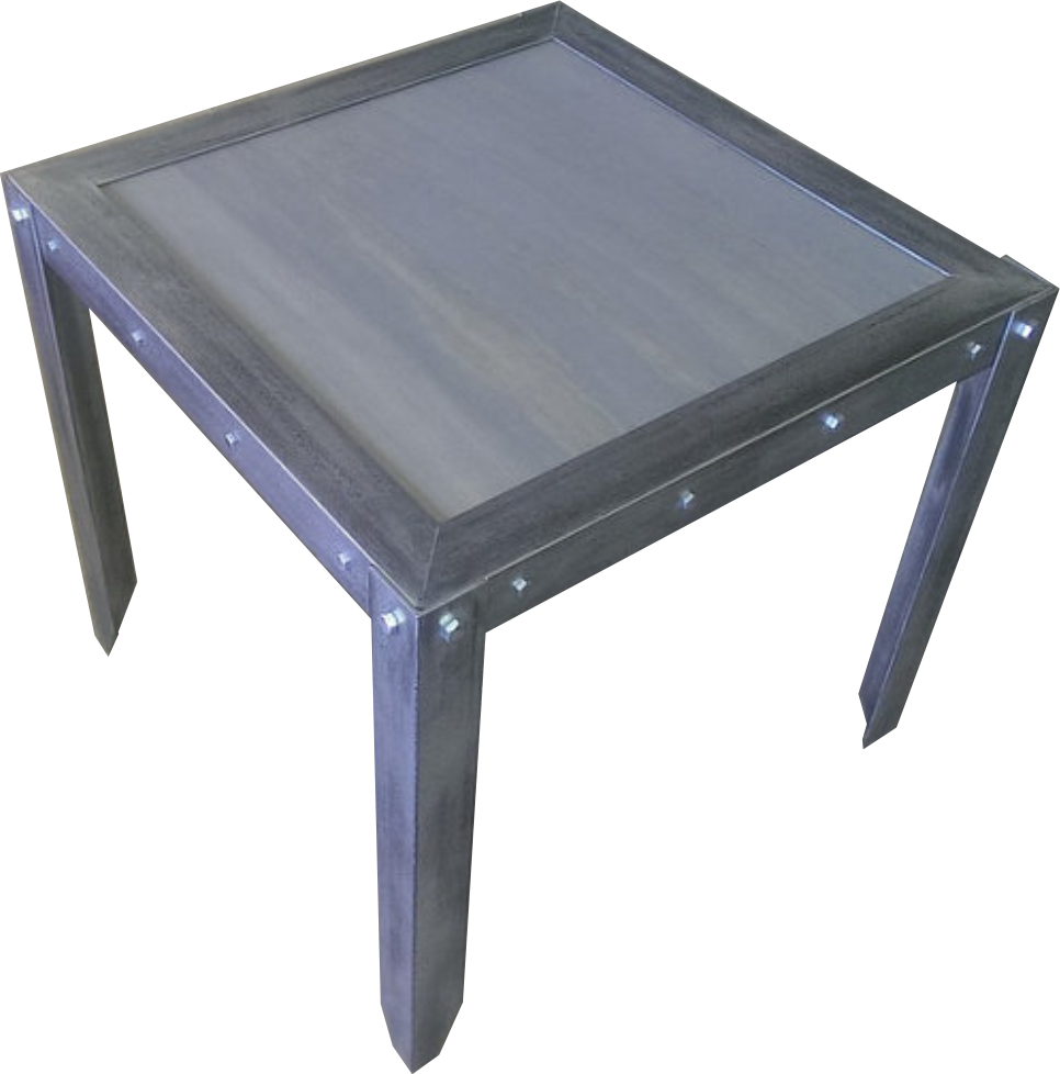 Industrial Vintage Weathered Side Table Front in Weathered Gray by Industrial Evolution Furniture Co