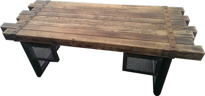#039 - Rustic Steel and Cedar Timber Desk