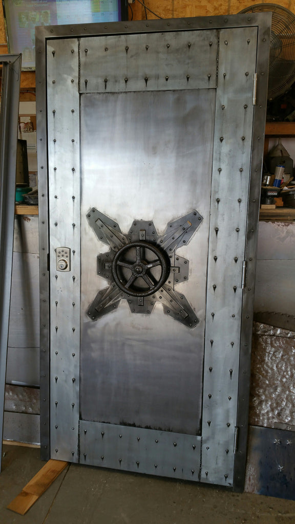 #027F - Custom Vintage Industrial Faux Vault Door • Industrial Evolution  Furniture Co. - Vintage Vault Door In Florida - Industrial Evolution Furniture Co.