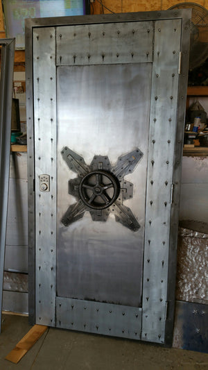 #027F - Custom Vintage Industrial Faux Vault Door • Industrial Evolution Furniture Co.