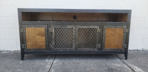 #003 - Steel & Wood Vintage Industrial Console Cabinet