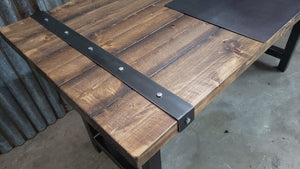 #101 - Rustic Industrial Distressed Desk Table with Steel Straps and Steel Legs