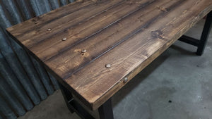 #101 - Rustic industrial distressed Desk Table with steel trim and steel legs