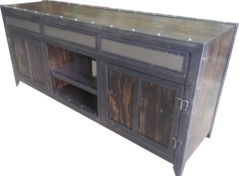Industrial Console with Drawers angled view